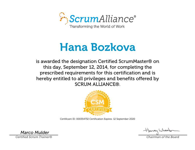 Certified Scrum Master certifikát Hana Božková