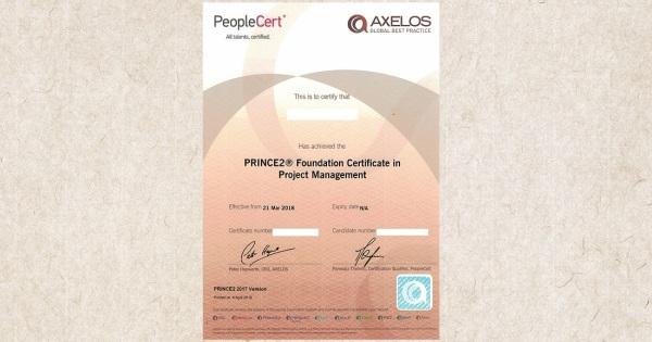 Vzor pravého certifikátu PRINCE2